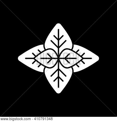 Mint Dark Mode Glyph Icon. Peppermint Leaves. Herbs For Seasoning. Fresh Plant. Condiment For Cooker