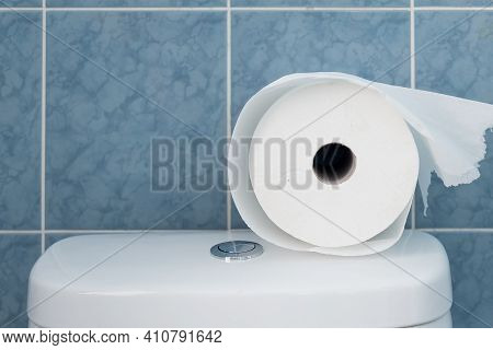 A Big Roll Of Toilet Paper On A White Tank. A Small Roll Of Toilet Paper On The Toilet Bowl Against