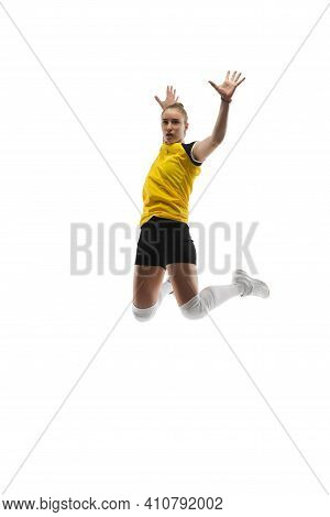Flying. Young Female Volleyball Player Isolated On White Studio Background. Woman In Sportswear Trai