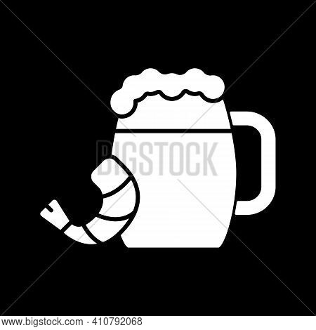 Beer With Snack Dark Mode Glyph Icon. Alcoholic Beverage With Prawn. Shrimp To Eat With Drink. Alcoh