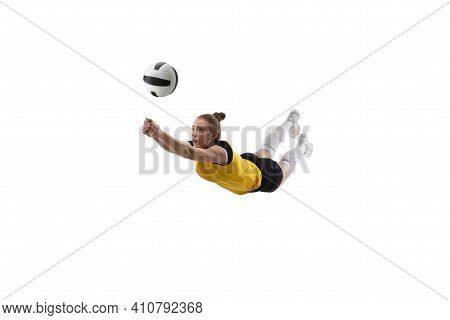 Catching. Young Female Volleyball Player Isolated On White Studio Background. Woman In Sportswear Tr