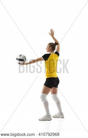 Ready. Young Female Volleyball Player Isolated On White Studio Background. Woman In Sportswear Train