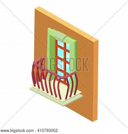 Antique Balcony Icon. Isometric Illustration Of Antique Balcony Vector Icon For Web