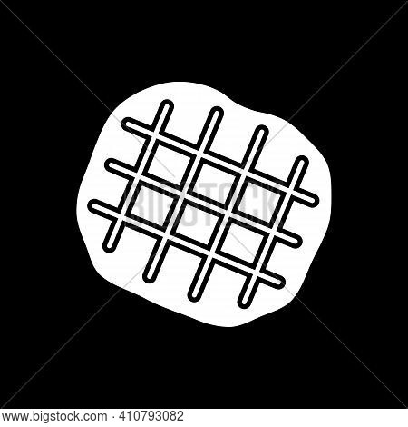 Belgian Waffle Dark Mode Glyph Icon. Cut Flattened Dough. Bakery Product, Pastry Sweets. Dessert And