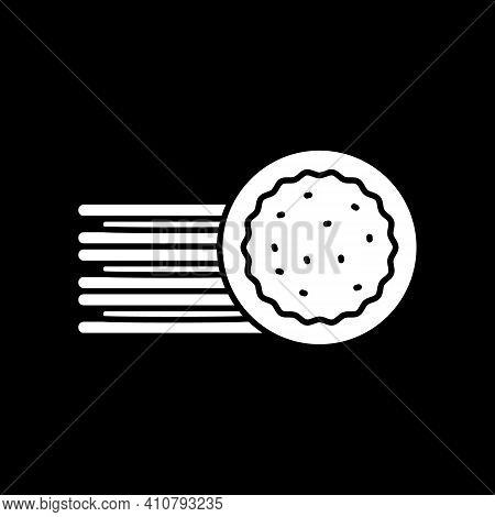 Bake Pie In Oven Dark Mode Glyph Icon. Pastry Preparation. Homemade Pastry. Grocery Product And Food