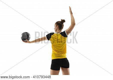 Professional. Young Female Volleyball Player Isolated On White Studio Background. Woman In Sportswea