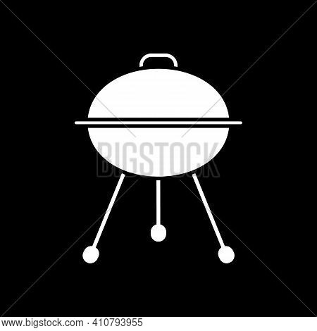 Grill With Closed Lid Dark Mode Glyph Icon. Barbecue Cooking. Heater For Picnic Food Preparation. Ou