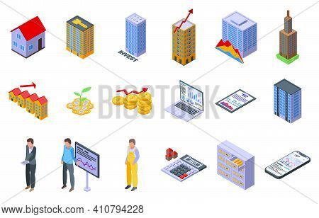 Property Investments Icons Set. Isometric Set Of Property Investments Vector Icons For Web Design Is