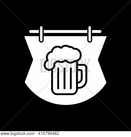 Bar Sign Dark Mode Glyph Icon. Pub Signboard. Beer Mug On Signange. Cafe With Alcohol Beverage. Tave