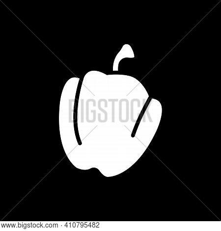 Bell Pepper Dark Mode Glyph Icon. Fresh Vegetable. Veggie For Cooking. Healthy Eating. Vegan Meal Re