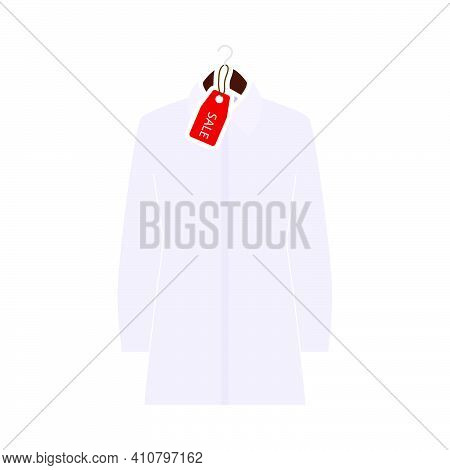 Blouse On Hanger With Sale Tag Icon. Flat Color Design. Vector Illustration.