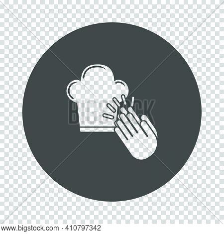 Clapping Palms To Toque Icon. Subtract Stencil Design On Tranparency Grid. Vector Illustration.