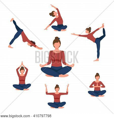 Beautiful Woman Doing Yoga Exercises. Set Of Seven Yoga Poses For Easy Yoga At Home. Set For Sport A