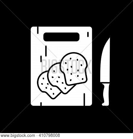 Bread Toasts On Cutting Board Dark Mode Glyph Icon. Loaf Pieces For Cooking. Food Preparation. Home
