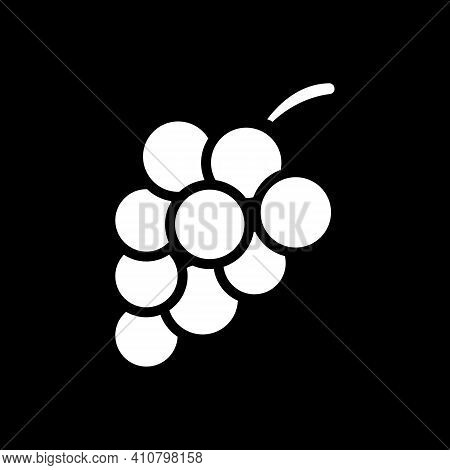 Grape Dark Mode Glyph Icon. Fresh Fruit. Winemaking Product. Nutrient Food. Recipe Ingredient. Groce