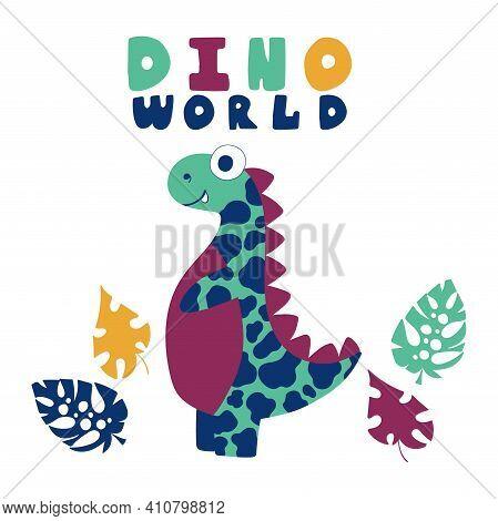 Funny Cartoon Motley Dinosaur With Jungle Leaves Stock Vector Illustration. Cartoon Megalosaurus Cut