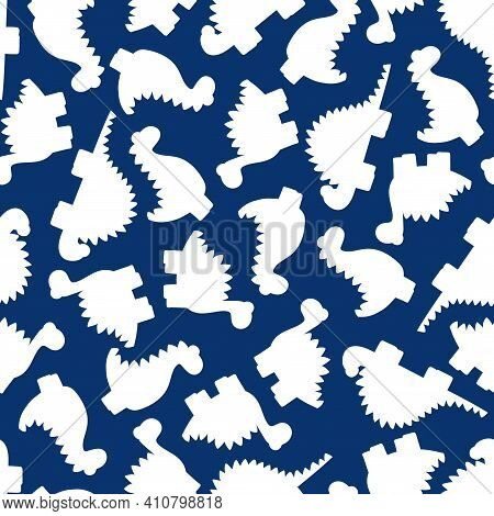 White Dinos Silhouettes On Blue Seamless Pattern Vector. Funny Cartoon Dinos Simple Monochrome Patte