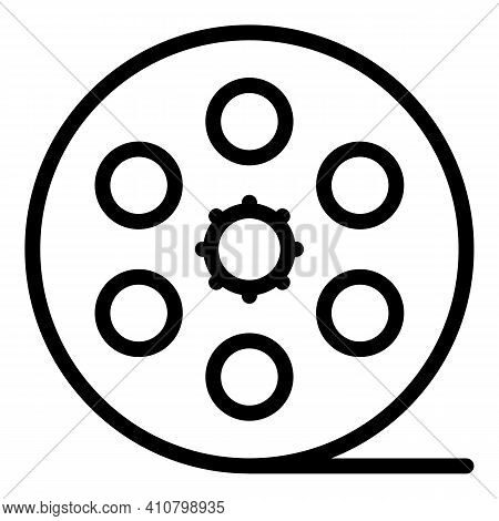Cinema Reel Icon. Outline Cinema Reel Vector Icon For Web Design Isolated On White Background