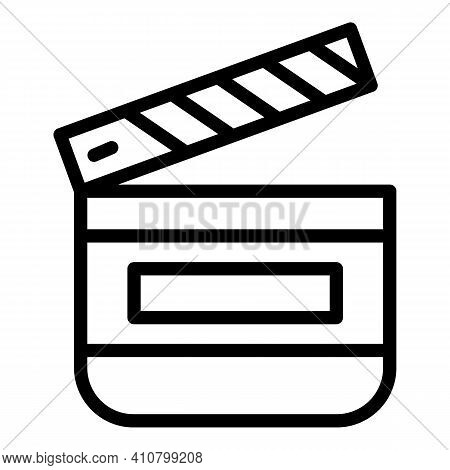 Clapperboard Icon. Outline Clapperboard Vector Icon For Web Design Isolated On White Background