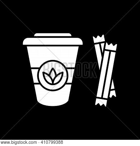Leaf Tea To Go Dark Mode Glyph Icon. Add Sugar To Natural Drink. Disposable Cup. Coffee Shop Takeout