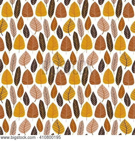 Natural Neutral Colors Leaves Seamless Pattern Vector. Ground Colors Trees On White Endless Texture.