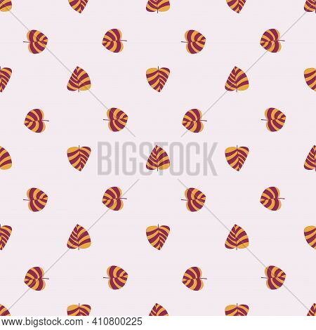 Orange And Purple Striped Leaves On Peach Color Background Pattern. Natural Colors Positive Surface