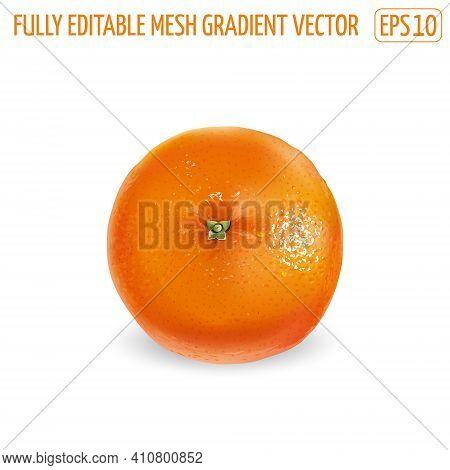 Ripe Unpeeled Orange On A White Background.