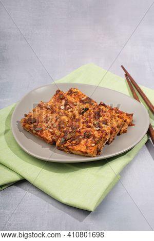 Korea Food, Braised Tofu With Spicy Sauce.