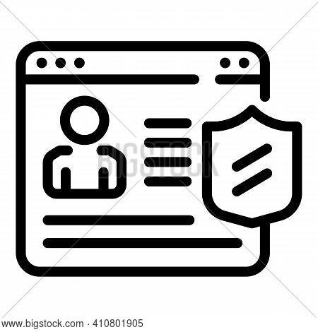Profile Privacy Icon. Outline Profile Privacy Vector Icon For Web Design Isolated On White Backgroun