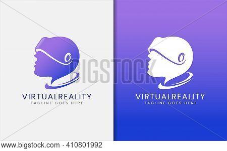 Creative Virtual Reality Tech Logo Design. Someone Using A Virtual Reality Kits Concept. Vector Logo