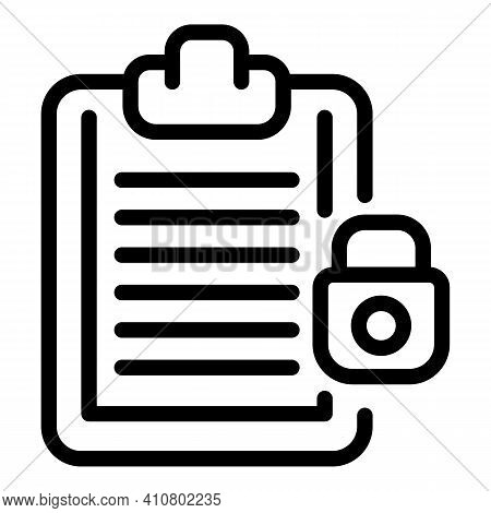 Document Privacy Icon. Outline Document Privacy Vector Icon For Web Design Isolated On White Backgro
