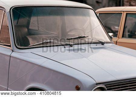 Saratov, Russia - 10.24.2020: Background Fragment Old Soviet Vintage Retro Car Lada Zhiguli Russian