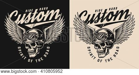 Vintage Monochrome Motorcycle Logo With Inscriptions And Skull In Biker Helmet And Goggles With Eagl