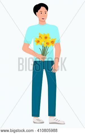 Guy With A Bouquet Of Flowers. A Man With Yellow Flowers In His Hand. Vector. Bouquet Of Daffodils,
