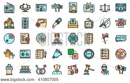 Democracy Icons Set. Outline Set Of Democracy Vector Icons Thin Line Color Flat On White