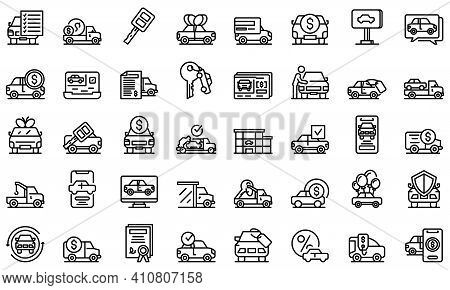 Buying Car Icons Set. Outline Set Of Buying Car Vector Icons For Web Design Isolated On White Backgr