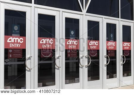 Indianapolis - Circa March 2021: Amc Movie Theater Location. Amc Theaters Is Having To Adjust To The
