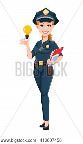 Police Woman In Uniform. Female Police Officer Cartoon Character Having A Good Idea. Stock Vector Il