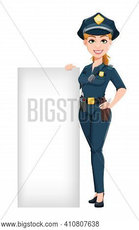 Police Woman In Uniform. Female Police Officer Cartoon Character Standing Near Blank Banner. Stock V
