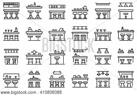 Bar Counter Icons Set. Outline Set Of Bar Counter Vector Icons For Web Design Isolated On White Back