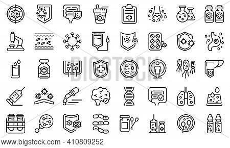 Immune System Icons Set. Outline Set Of Immune System Vector Icons For Web Design Isolated On White
