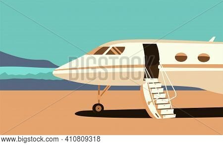 Business Jet With An Open Passenger Door And A Ramp On The Take-off Field. Vector Flat Style Illustr