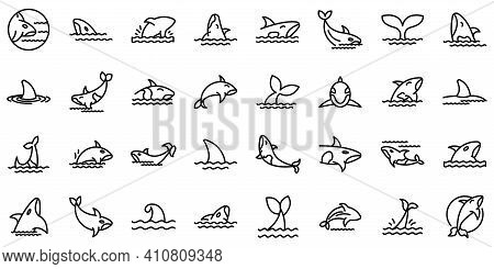 Killer Whale Icons Set. Outline Set Of Killer Whale Vector Icons For Web Design Isolated On White Ba