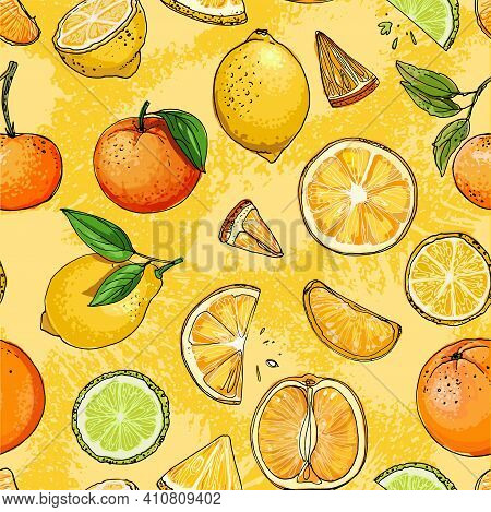 Pattern. Fresh Food. Watermelon, Cantaloupe, Pomegranate, Apricot, Persimmon Line Drawn On A White B