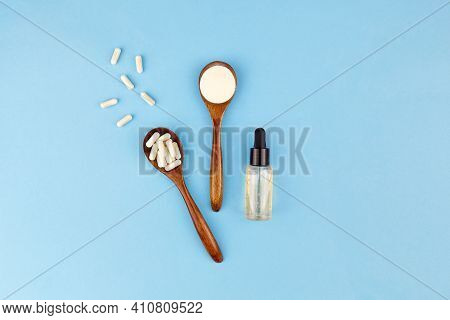 Different Types Of Collagen: Powder, Capsules And In The Form Of A Liquid Gel, Anti-aging Serum With