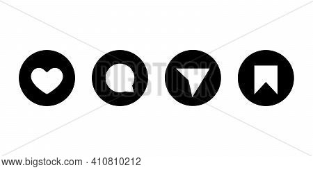 Like, Comment, Share And Save. Button Icon Set Of Social Media In Flat Style