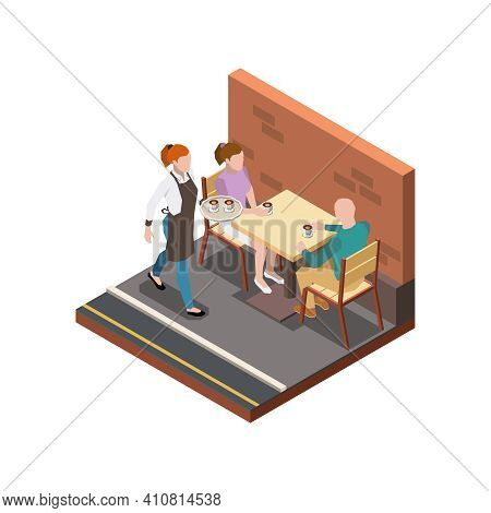 Street Cafe Terrace Isometric Composition With Walking Waiter And Couple Drinking Coffee Vector Illu
