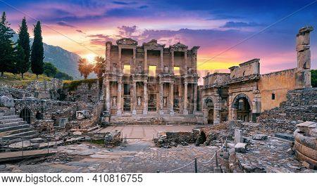 Celsus Library At Ephesus Ancient City In Izmir, Turkey.