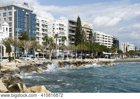 Limassol, Cyprus, March 2nd, 2021: View Of Seafront Buildings And Coastal Pedestrian Path
