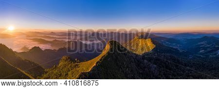 Aerial View Nature Background, Panorama Of Phu Chi Dao At Sunrise In Chiang Rai, Thailand.